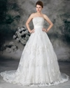 Show details for Ivory Elegant A-Line Strapless Floor-Length Chapel Lace Wedding Dresses