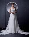 Show details for Ivory A Line Princess V Neck Chapel Train Wedding Dress With Beading