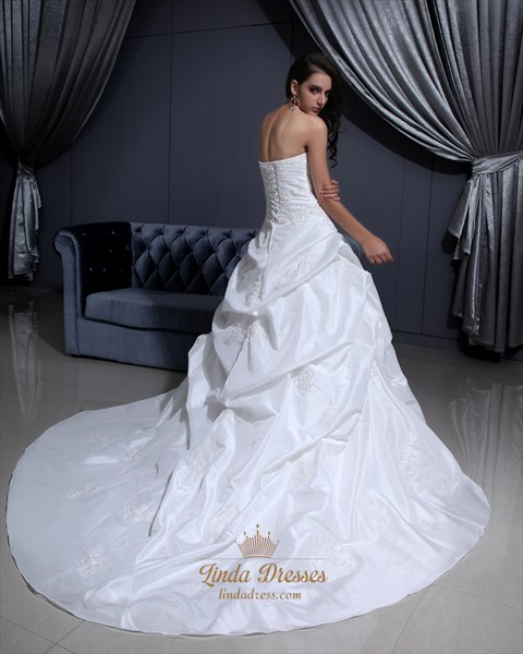 Ivory Sweetheart  Pick-Up Wedding Dress With Floral Appliques
