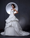 Show details for Ivory Spaghetti Strap V Neck Taffeta Wedding Dress With Floral Appliques