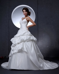 Ivory Spaghetti Strap V Neck Taffeta Wedding Dress With Floral Appliques