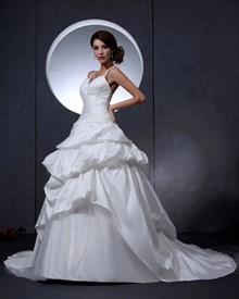 Ivory Spaghetti Strap V Neck Taffeta Wedding Dress With Floral Appliques