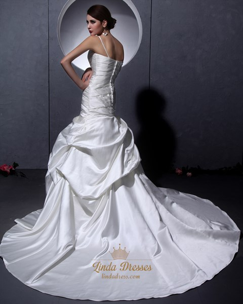 Ivory Satin V Neck A Line Wedding Dress With Ruching And Dropped Waist