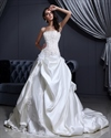 Show details for Ivory Strapless Satin Pick-Up Wedding Dresses With Applique Detail
