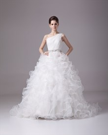 Beautiful Ivory One Shoulder Organza Ruffle Skirt Beaded Wedding Dresses