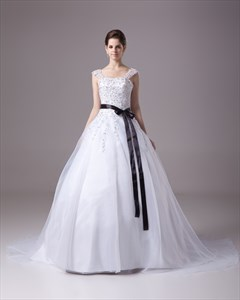 White Beaded Lace Applique Organza A Line Wedding Dress With Black Sash