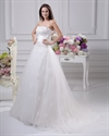 Show details for Ivory Strapless Tulle Wedding Gown With Lace Applique And 3d Flowers