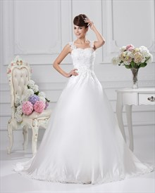 Beaded Ivory A-Line Sweetheart Wedding Dress With Straps And Lace