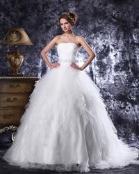 Elegant Ivory Strapless Tulle Beaded Wedding Dresses With Ruffled Skirt