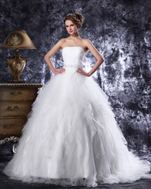 Elegant Ivory Strapless Tulle Beaded Wedding Dresses With Ruffled Skirt