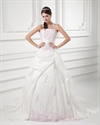 Show details for Ivory A-Line Halter Satin Pickup Wedding Dress With Pink Embroidery
