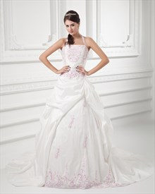 Ivory A-Line Halter Satin Pickup Wedding Dress With Pink Embroidery