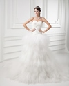 Show details for Ivory Strapless Sweetheart Tulle Skirt Chapel Train Wedding Dress