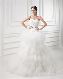 Ivory Strapless Sweetheart Tulle Skirt Chapel Train Wedding Dress