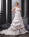 Show details for Ivory Plus Size Strapless Taffeta Pick Up Wedding Dresses Strapless