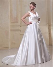 Vintage Ivory Satin A Line Princess V Neck Chapel Train Wedding Dresses