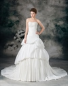 Show details for Ivory A-Line Taffeta Strapless Wedding Dresses With Layered Skirt