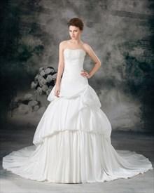 Ivory A-Line Taffeta Strapless Wedding Dresses With Layered Skirt