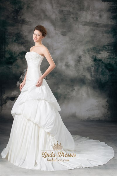 Ivory A-Line Taffeta Strapless Wedding Dresses With Layered Skirt