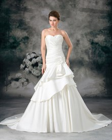 Ivory Sweetheart Strapless A Line Wedding Dresses With Flower Detail