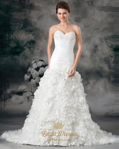 Ivory Beaded Bodice Wedding Dresses Sweetheart With Rosette Skirt ...