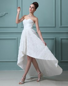 Ivory Taffeta Sweetheart High Low Wedding Dresses With Rosette Skirt