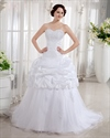 White Sweetheart Strapless Tulle Wedding Gown With Lace Embroidery