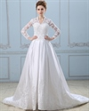 Ivory Sweetheart Dropped Waist Tulle Wedding Dress With Purple Sash