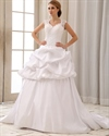 Show details for White Taffeta Pick Up Wedding Dress With Cap Sleeves And Open Back