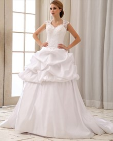 White Taffeta Pick Up Wedding Dress With Cap Sleeves And Open Back