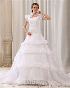 White Applique Lace Bodice Organza Wedding Dress With Puffy Sleeves