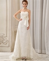 Show details for Ivory Strapless Sweetheart Empire Waist Lace Wedding Dress With Sash