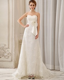 Ivory Strapless Sweetheart Empire Waist Lace Wedding Dress With Sash