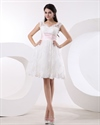 Show details for Elegant Ivory Lace Knee-Length V-Neck Wedding Dress With Pink Sash