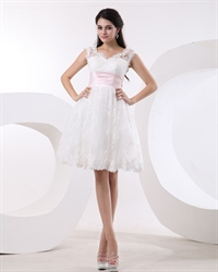 Elegant Ivory Lace Knee-Length V-Neck Wedding Dress With Pink Sash