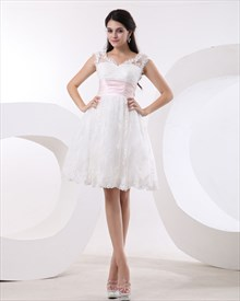 Elegant Ivory Lace Knee-Length V-Neck Wedding Dress With Pink Sash