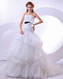 White Strapless Dropped Waist Organza Wedding Dress With Black Sash