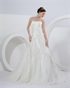Show details for Ivory A Line Strapless Chapel Train Wedding Dresses With Lace Appliques