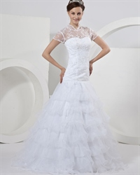 White Lace Bodice Organza Tiered Skirt Wedding Dress With Short Sleeve