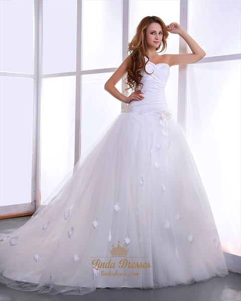 Show details for White Strapless Chapel Train Tulle Wedding Dresses With 3d Floral Detail