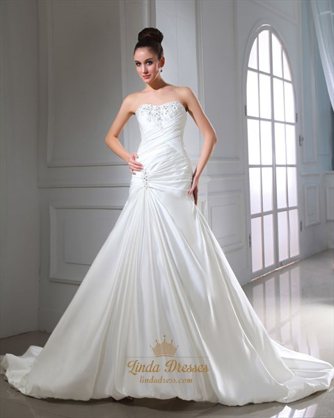 Ivory Strapless Layered Skirt Lace Up Back Wedding Dress With Beading