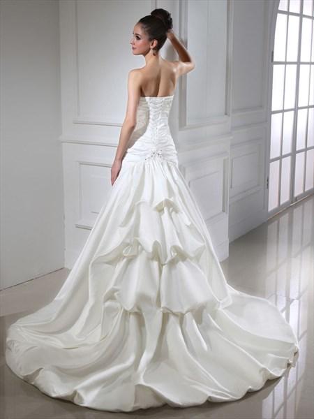 Ivory Strapless Layered Skirt Lace Up Back Wedding Dress With Beading