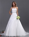 Show details for White Sweetheart Strapless Organza Wedding Dresses With Beaded Belt