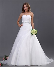 White Sweetheart Strapless Organza Wedding Dresses With Beaded Belt