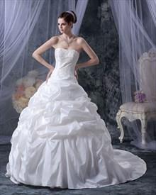 White Strapless Taffeta Pick Up Wedding Dress With Beaded Bodice