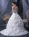 Show details for White Strapless Taffeta Pick Up Wedding Dress With Beaded Bodice