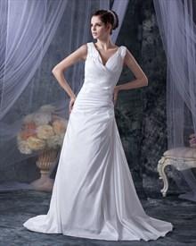 White Elegant V Neck Sleeveless Ruching Taffeta Dress For Beach Wedding
