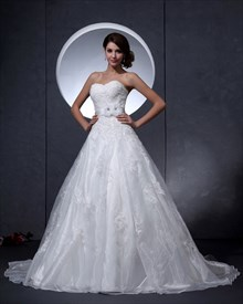 Ivory Lace Bodice Organza Skirt A Line Wedding Dress With Flower Sash