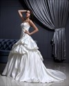 Show details for Ivory A Line Sweetheart Satin Pick-Up Wedding Gown With Applique Detail