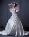 Show details for Ivory Satin Aline Strapless Wedding Dress With Floral Appliques